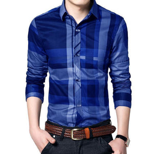 Men's business casual shirt men's long sleeve stripe slim fit men's new fashion shirt Set of 3