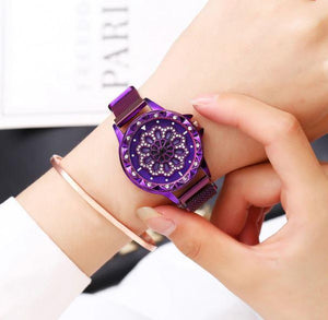 Analogue 360 Degree Rotating Dial Rhinestone Magnetic Mesh Strap Women's purple Watch
