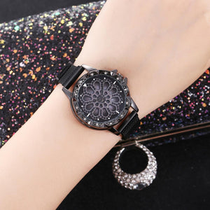 Analogue 360 Degree Rotating Dial Rhinestone Magnetic Mesh Strap Women's Black Watch