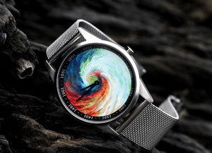 3D Rainbow Vortex creative design stainless steel case Oil Painting face fashion quartz clock watch