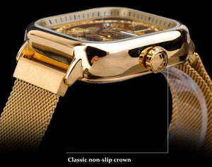 Men Mechanical Watches Automatic Self-Wind Golden Transparent Fashion Mesh Steel Wristwatch