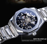 Silver Mens Watches Top Brand Luxury Automatic Mechanical Stainless Steel Fashion Skeleton Waterproof Business Clock