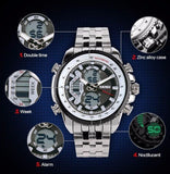 Men Sport Watches Led Analog-Digital Wristwatch Waterproof Stainless Steel Watch Fashion Casual Mens Military Quartz Watch 4.9