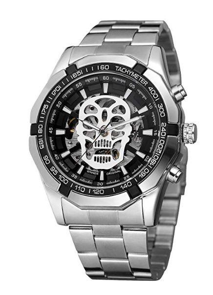 Skull Collection Silver Black Dial Automatic Mechanical Watch for Men's & Boys (Without Battery for Life).