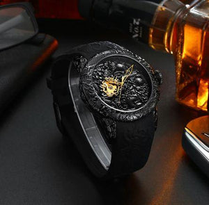 Gold Dragon Sculpture Automatic Mechanical Watch For Men Waterproo