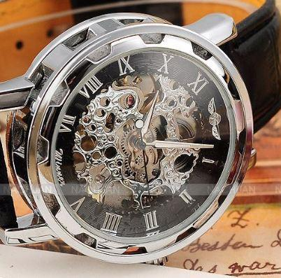 new hot sale skeleton hollow fashion mechanical hand wind men luxury male business leather strap Wrist Watch