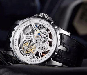 LUXURY OPEN WORK DESIGN MENS WATCHES SKELETON DIAL CALFSKIN STRAP WATCH  WATERPROOF