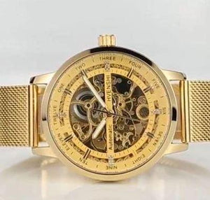 SKELETON STAINLESS STEEL CASUAL GOLDEN CASE GEAR BEZEL MEN'S WATCH