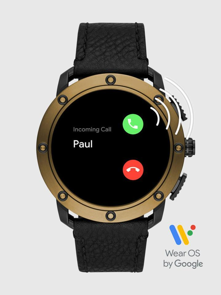 Axial Smartwatch - Bronze Stainless Steel and Black Leather