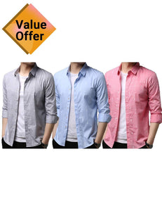Solid Casual Linen Men Shirts Mens Long Sleeve Dress Shirts Cotton Shirt Men Shirt Plus Size Slim Fit Homme Combo of 3