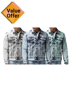 NEW popular Men's Fashion Luxury Stylish denim Solid Comfortable Shirts for Men Pack of 3