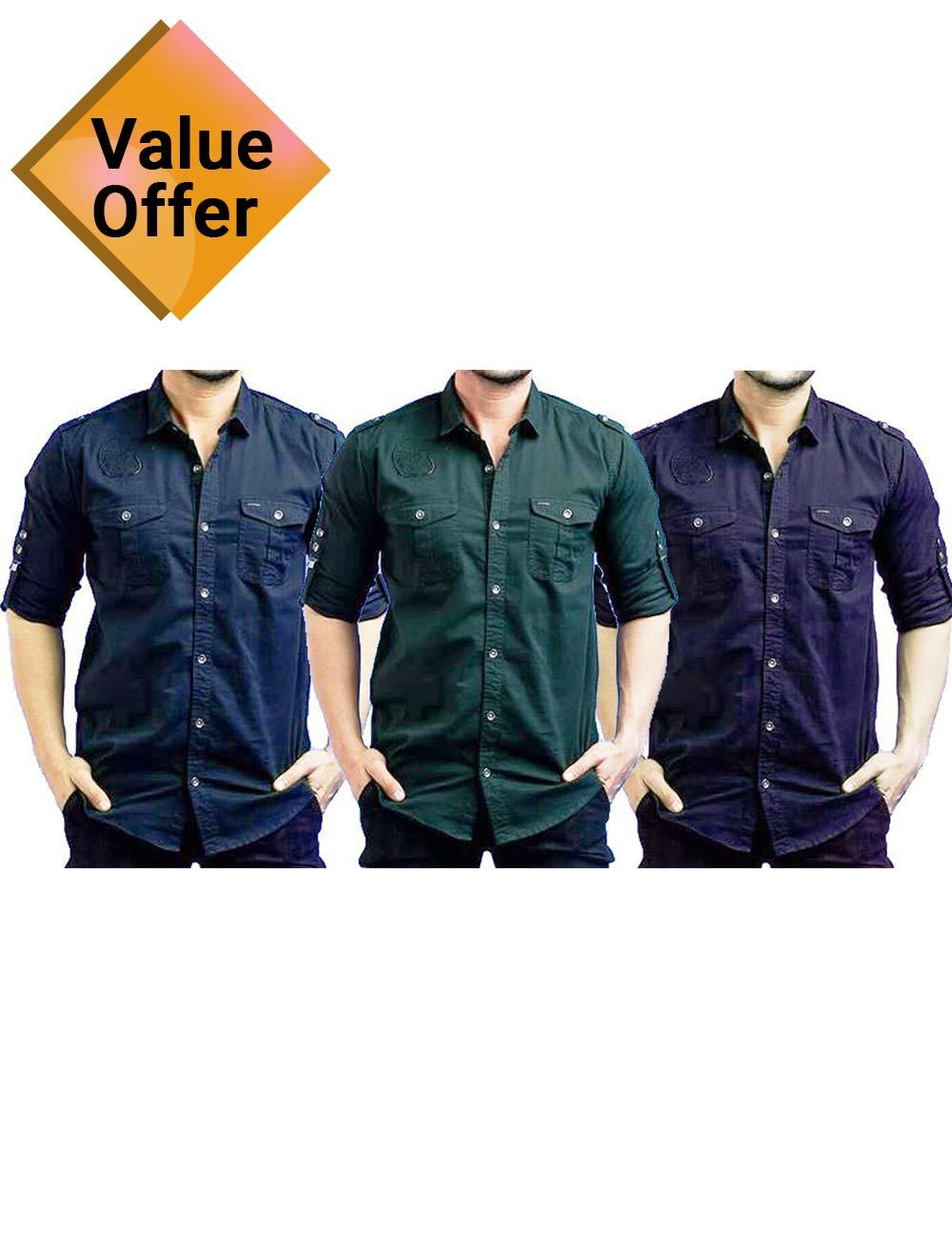Pack of 3 Branded Casual Stylish Solid Comfortable Shirts for Men