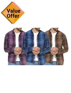 New Branded Solid color Men Fashion Long Sleeve Slim fit Shirt for Men Pack of 3