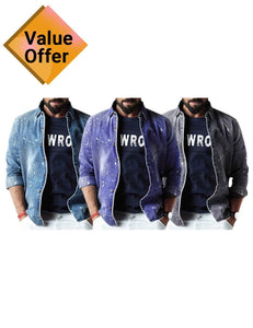New Branded Autumn Full Sleeve Denim shirts for men Set of 3