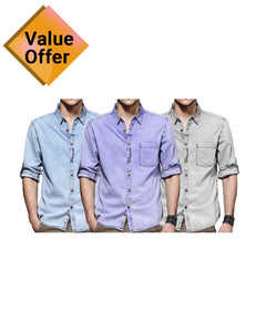 New free Casual Slim Mens Denim Shirt Plus Size Bomber  Men High Quality Shirts Pack of 3
