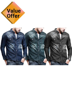 New Fashion Men's Casual Denim Fashionable Shirt Stylish Slim Fit Shirts combo of 3