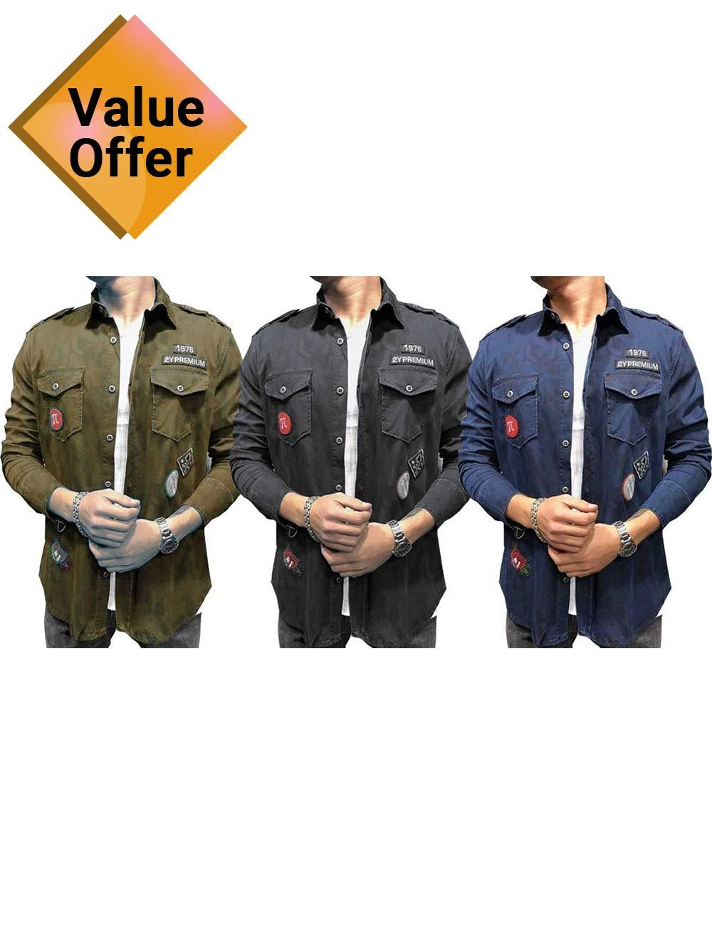 New Fashionable Double Pocket Cotton Denim Comfortable Shirts of Men Combo Of 3