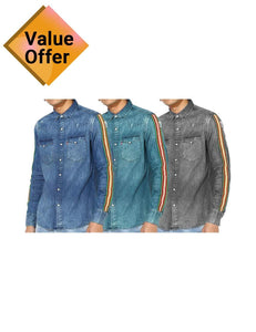 New Branded Stylish 3 denim Solid Comfortable Shirts for Men