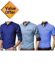 Summer Men Shirt Male Long Sleeve Shirts Fashionable Casual Hit Color Slim (3 Shirts Pack)