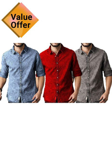 New  of Fashion Mens Casual Denim Shirt Royal Luxury Stylish Breathable Slim Fit Shirts set of 3