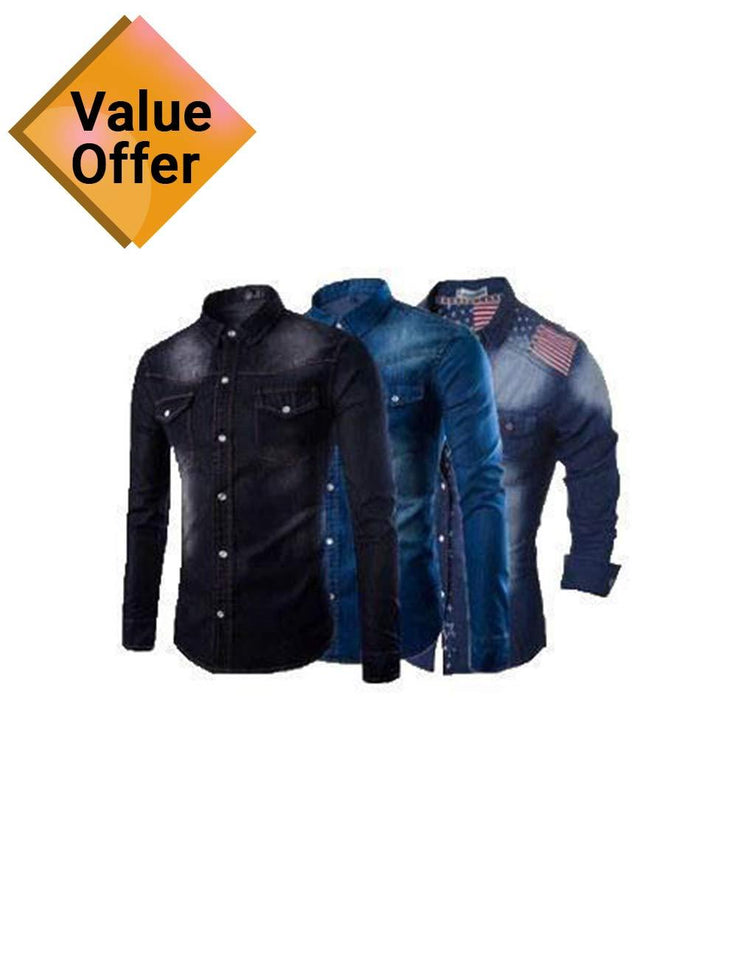 Pack of 3 New Mens Stylish Dress Comfortable Printed Denim Breathable Shirts for Men