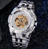 Luxury Automatic Mechanical Watch Men Full Steel Silver Gold Skeleton Wristwatch Clock Self winding