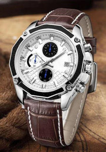 Men Watches Fashion Genuine Leather Chronograph Watch Clock for Gentle Men Male Students