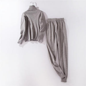 Women High Collar Sweater Knit Pants Suit