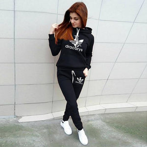 Women Printed Tracksuit Sweatshirt Trousers
