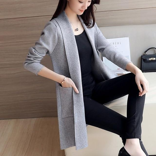 Women's Long Sleeve Knitted Cardigan