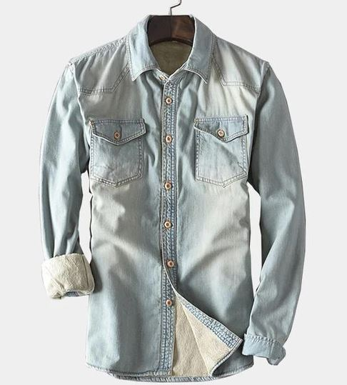 Men's Denim Slim Fit Causal Shirt