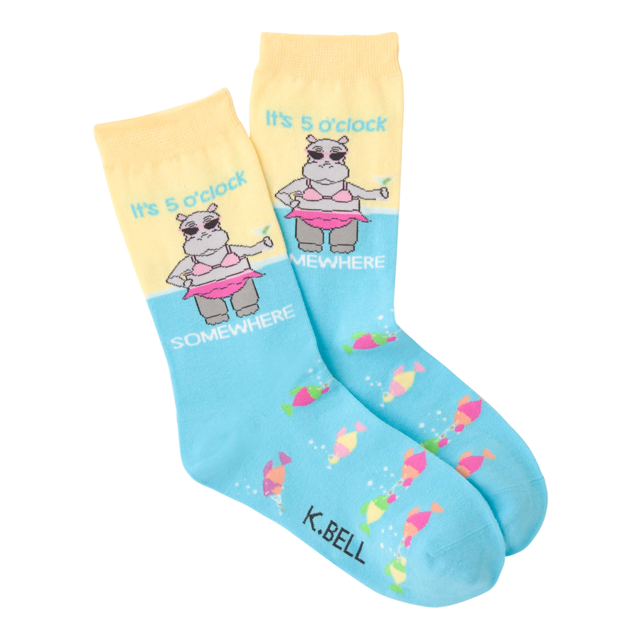 Women's Fashion Sock 5 O'Clock Somewhere Hippo