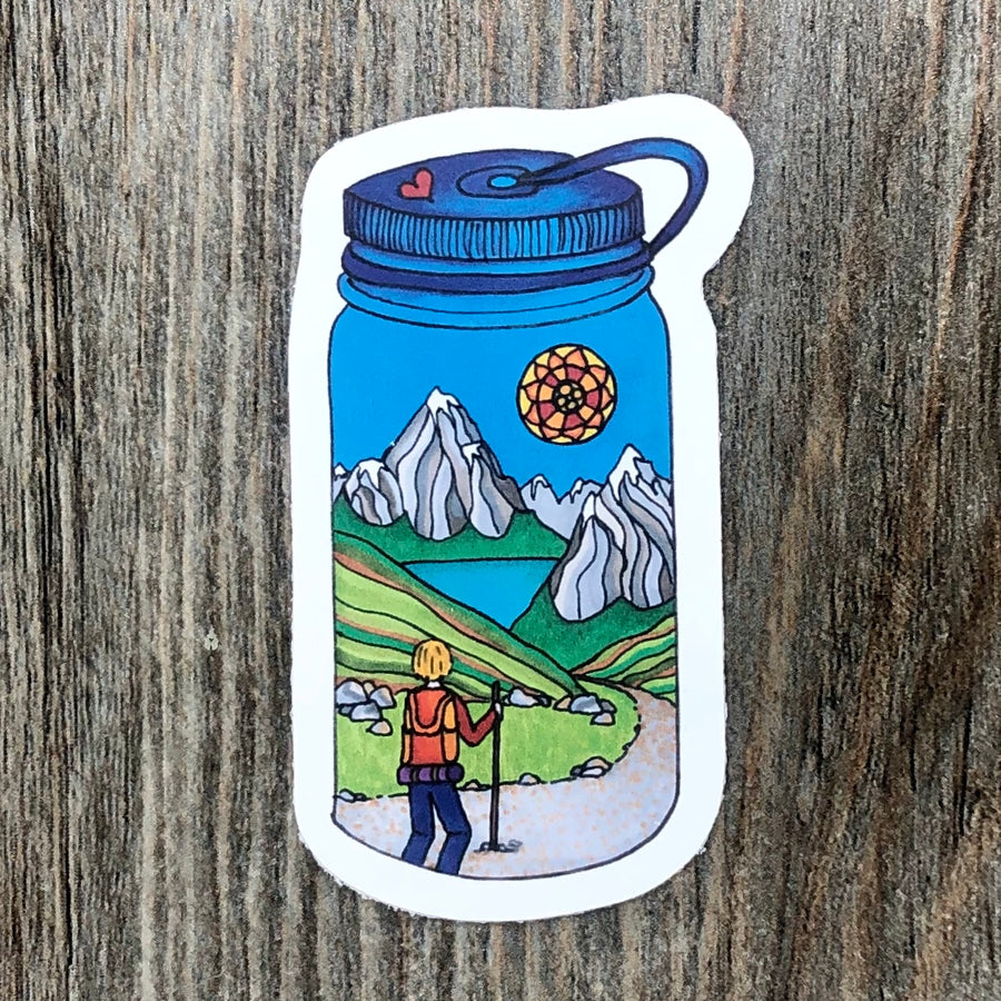 Hiker Water Bottle Sticker
