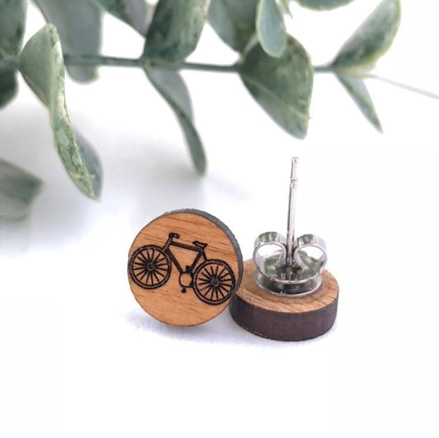 Handmade Wooden Earrings - Bicycle