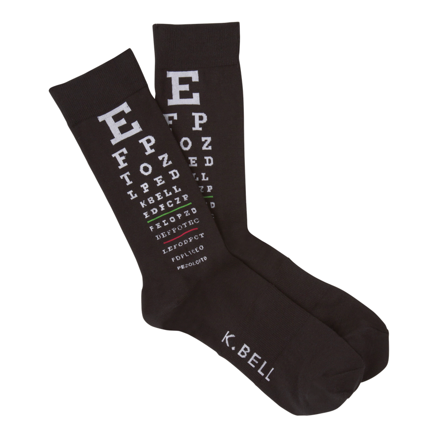 Men's Fashion Eye Chart Sock - Black