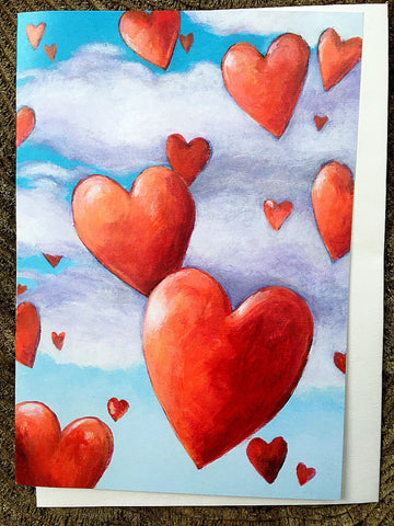 Floating Hearts Card