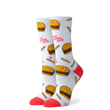 Women's Fries B4 Guys Sock - White M