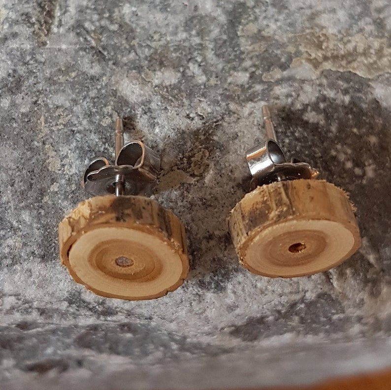 Wood Slice Earrings - Honeysuckle