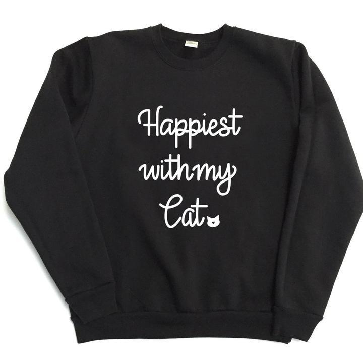 Happiest With My Cat Unisex Sweatshirt