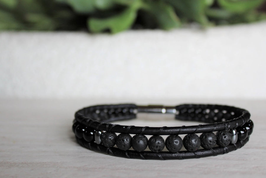 Mens' Leather Bracelet  - Lava Rock - 9