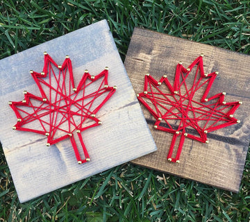 Maple Leaf String Art - Grey