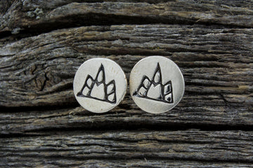 Mackenzie Jones Small Round Stud Earrings - Mini Mountain