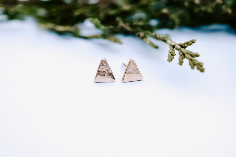 Small Peak Stud Earrings - Gold