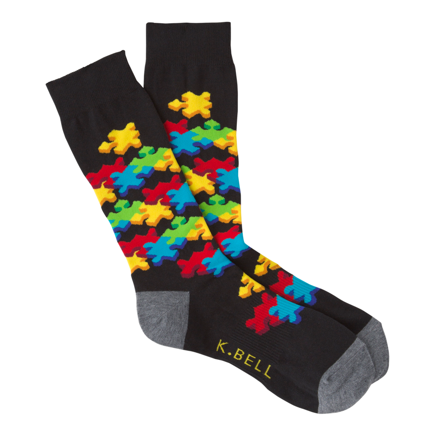 Men's Fashion Jigsaw Puzzle Sock - Black