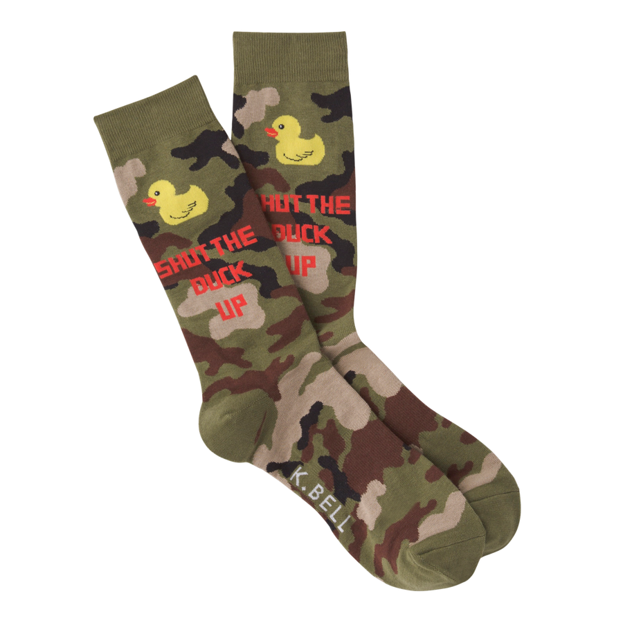 Men's Fashion Sock Shut The Duck Up - Olive