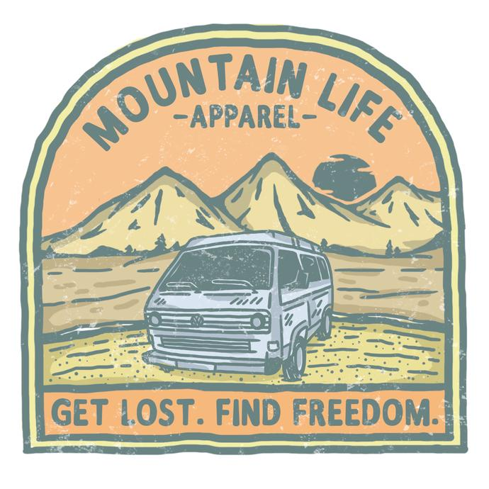 Mountain Life Apparel Get Lost Find Freedom Sticker (Orange)