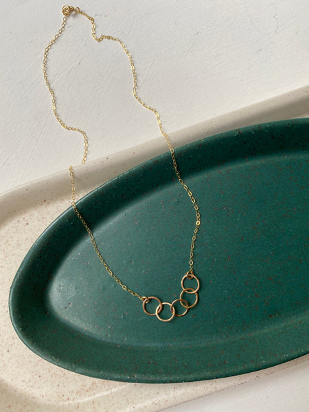 Tiny 5 Hoop Necklace- 14k Gold Filled