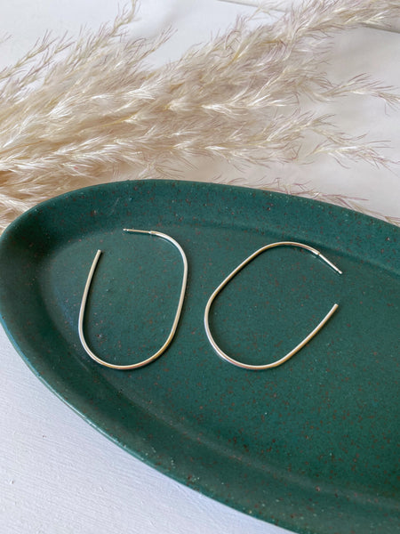 Large Oblong Hoops- Sterling Silver