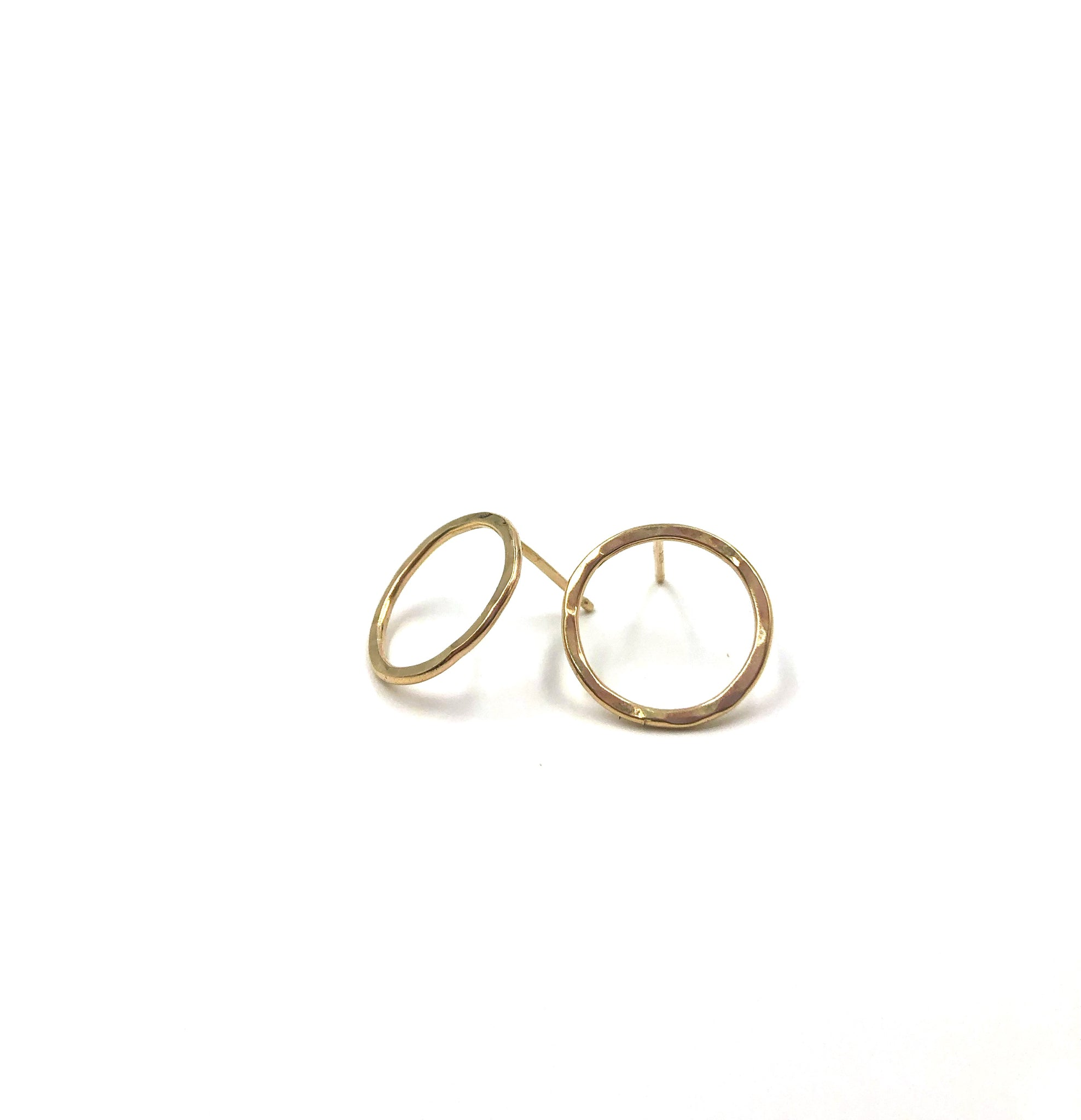 Large Circle Stud Earrings- 14k gold filled