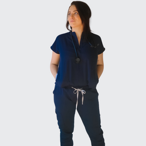 Buy Sistasaidso+ Women's 2.0 Mandarin Collar Scrub Top (French Navy) Online - Sistasaidso+